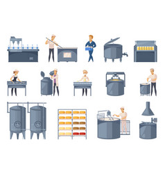 Dairy production cartoon icons set vector