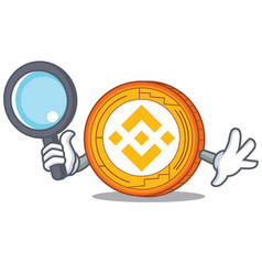 Detective binance coin character catoon vector