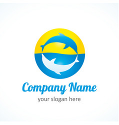 dolphin sun logo vector image