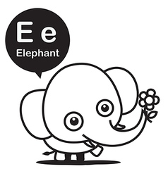 E Elephant cartoon and alphabet for children to vector image