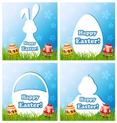 Easter card set with different silhouette text box vector image