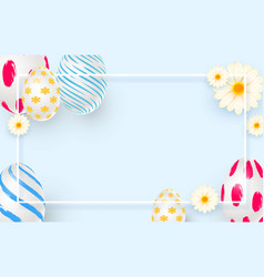 easter holiday background with 3d easter eggs vector image