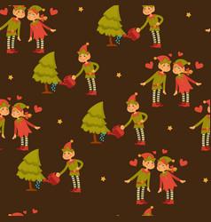 elf male and female children in love santa claus vector image