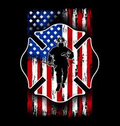 fireman shield flag - american firefighter vector image