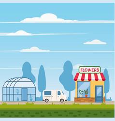 flower shop delivery truck greenhouse landscape vector image