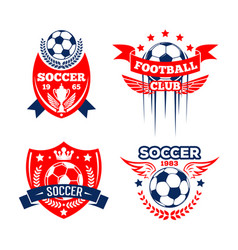 Football sport club of soccer game badge set vector