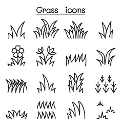 grass icon set in thin line style vector image