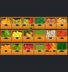 Grocery store shelves with fruits and vegetables vector