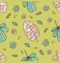 grunge leaves tropical hand drawn seamless vector image