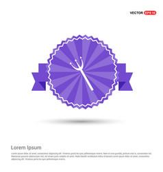 Halloween trident icon - purple ribbon banner vector