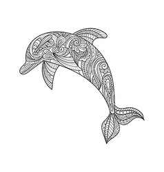 Hand drawn zentangle dolphin vector image