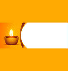 Happy diwali festival diya banner design vector