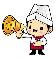 head cook character is holding a loudspeaker vector image