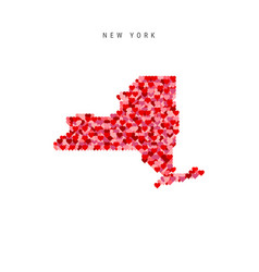 I love new york red hearts pattern map new york vector