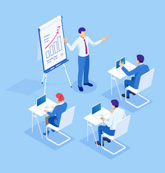 Isometric business training concept group vector