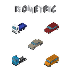 isometric car set of autobus auto car and other vector image