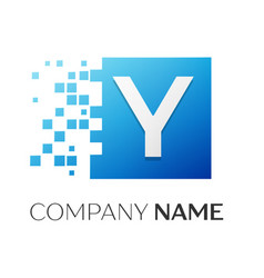 Letter y logo symbol in the colorful square with vector