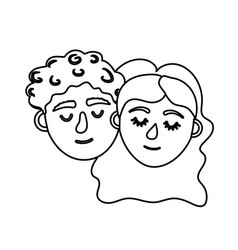 Line couple lover head with closed eyes and vector