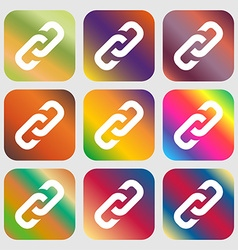 Link icon sign Nine buttons with bright gradients vector