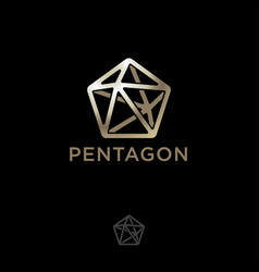 logo pentagon gold five pointed polygonal crystal vector image