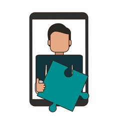 Man holding jigsaw on smartphone screen vector