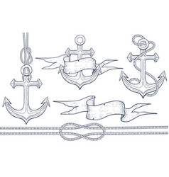 marine set anchor steering wheel rope ribbon vector image