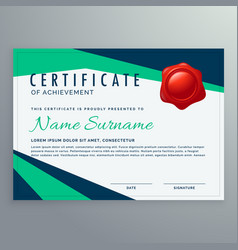 Modern geometric certificate design in blue and vector