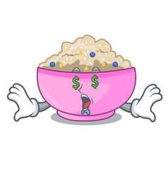 Money eye cooked whole porridge oats in cartoon vector