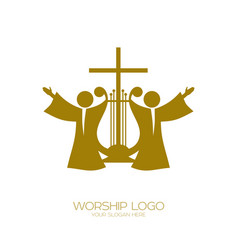 Music logo christian symbols worshiping god vector