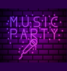 neon label music karaoke banner template design vector image