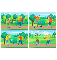old people in park activity grandparent vector image