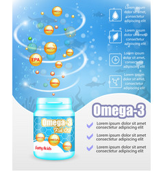 omega 3 fish oil supplements advertising vector image
