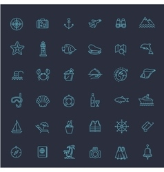 Outline web icon set - journey vacation cruise vector image