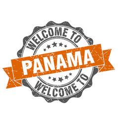 Panama round ribbon seal vector