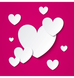 Paper hearts Valentines day card on pink vector image
