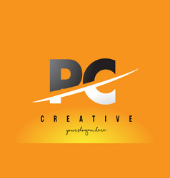 pc p c letter modern logo design with yellow vector image