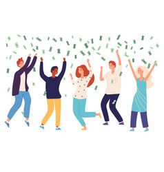 people money rain happy persons raining money vector image