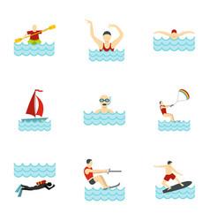 People swimming sailing jumping water icons set vector