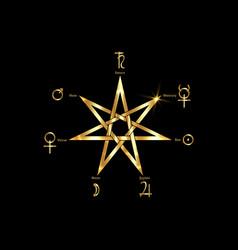 Planetary ritual gold heptagram vector