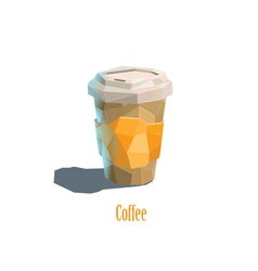 Polygonal carton cup of cappuccino coffee vector