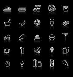 popular food line icons with reflect on black vector image
