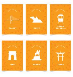 Poster for travel on orange background set three vector