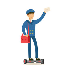 postman in blue uniform delivering mail vector image