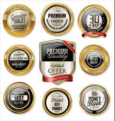 premium quality golden labels vector image