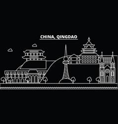 qingdao silhouette skyline china - qingdao vector image