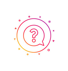 question mark line icon help speech bubble vector image