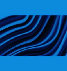 Realistic deep blue silk satin wrinkled fabric vector