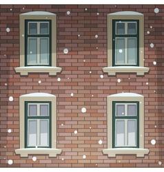 Retro Building Facade At Winter Time vector