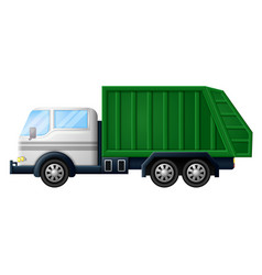 rubbish truck on white background vector image