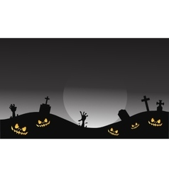 Scary halloween tomb and hand zombie vector image